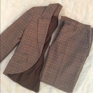 H&M Plaid Woman's Pant Suit Set with Lining